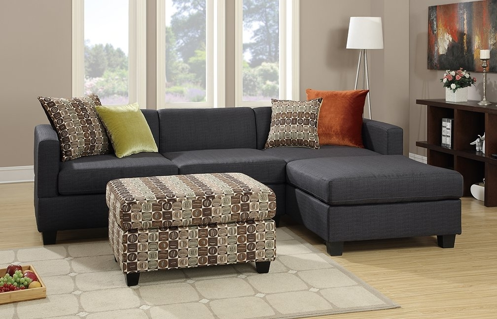 Sectionals With Ottoman With Most Recent Poundex Bobkona Dayton Reversible Sectional With Ottoman & Reviews (View 7 of 10)