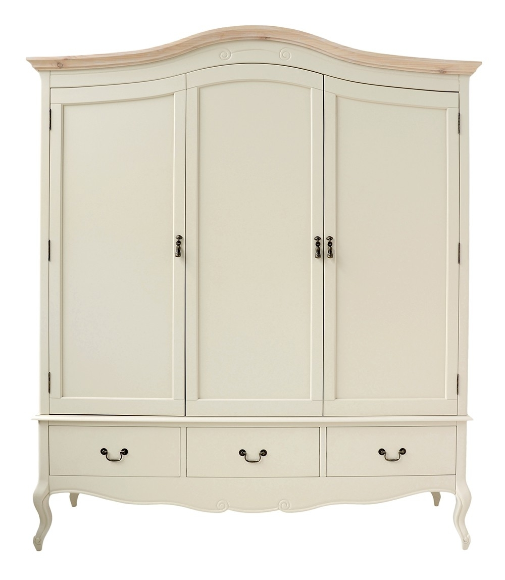 Shabby Chic Pine Wardrobes Throughout Popular Shabby Chic Champagne Triple Wardrobe (View 14 of 15)