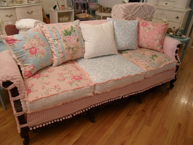 Shabby Chic Slipcovered Sofa Vintage Chenille And Roses Fabrics Pertaining To Trendy Shabby Chic Sofas (View 6 of 10)