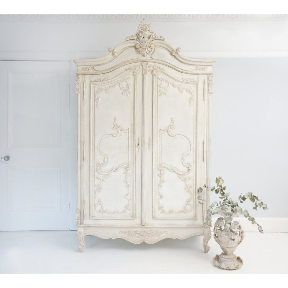 Shabby Chic Wardrobes Throughout Most Popular Delphine Distressed Shabby Chic Armoire (View 12 of 15)