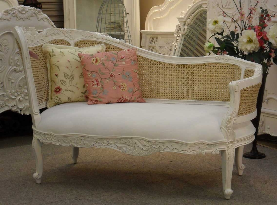 Shabby Chic White Carved Wood Bedroom Chaise Lounge Chair With Inside Current Vintage Indoor Chaise Lounge Chairs (View 12 of 15)