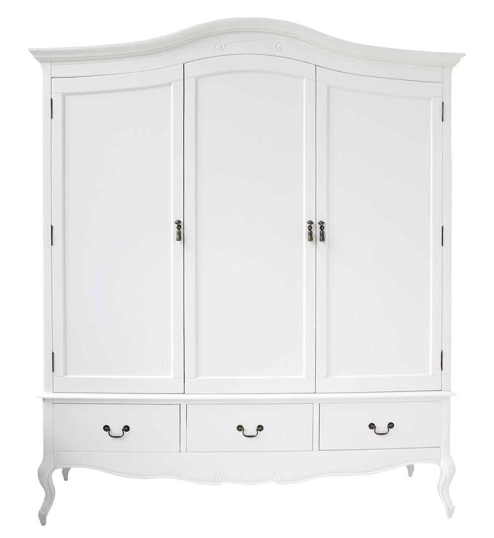 Shabby Chic White Triple Wardrobe (View 7 of 15)