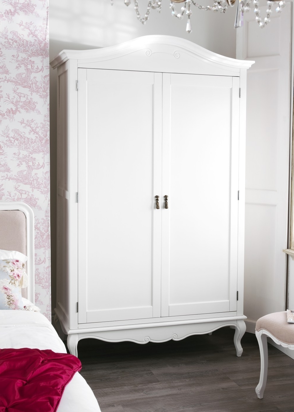 Shabby Chic White Upholstered King Size Bed In Latest Cheap Vintage Wardrobes (View 10 of 15)