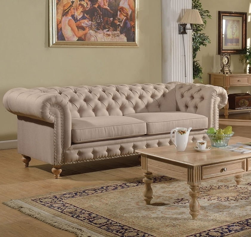 Shantoria Collection Beige Linen Tufted Sofa W/ Nailhead Trim With Fashionable Tufted Linen Sofas (View 5 of 10)