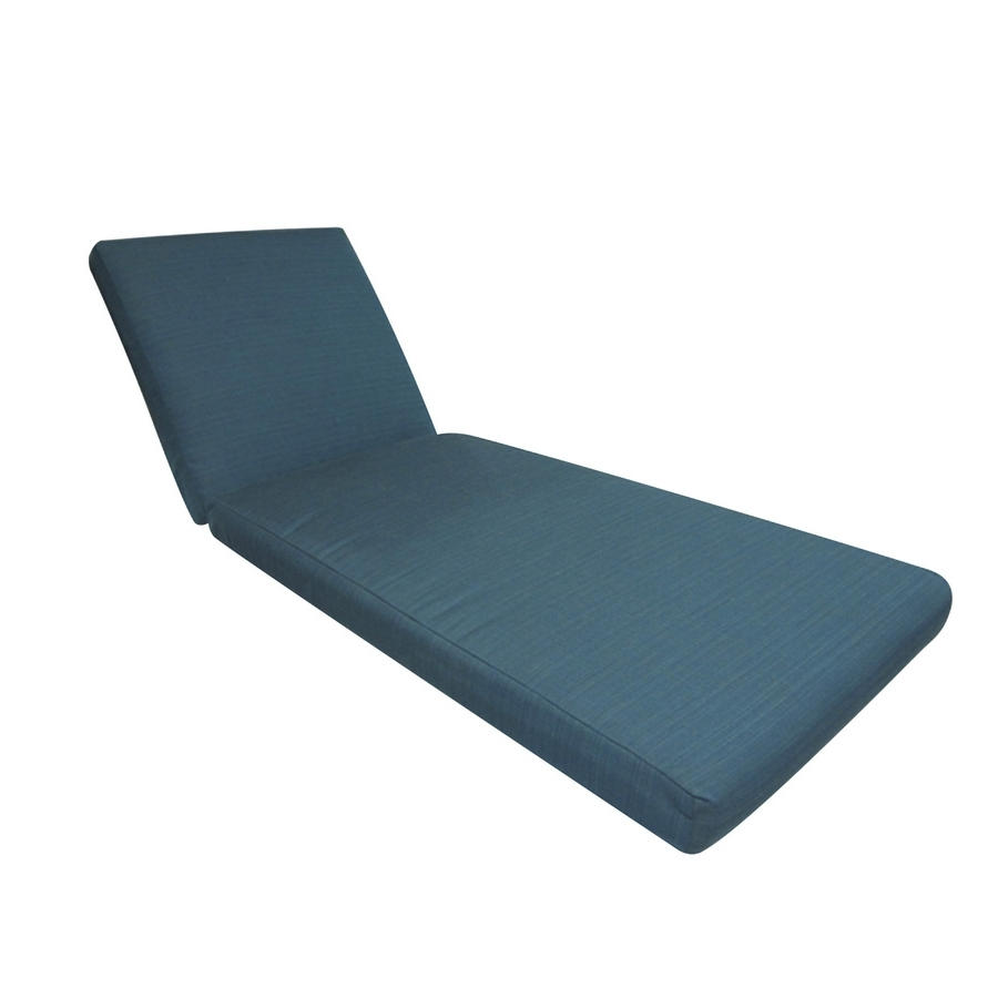 Shop Allen + Roth Sunbrella Deep Sea Solid Cushion For Chaise For Current Sunbrella Chaise Lounge Cushions (View 10 of 15)