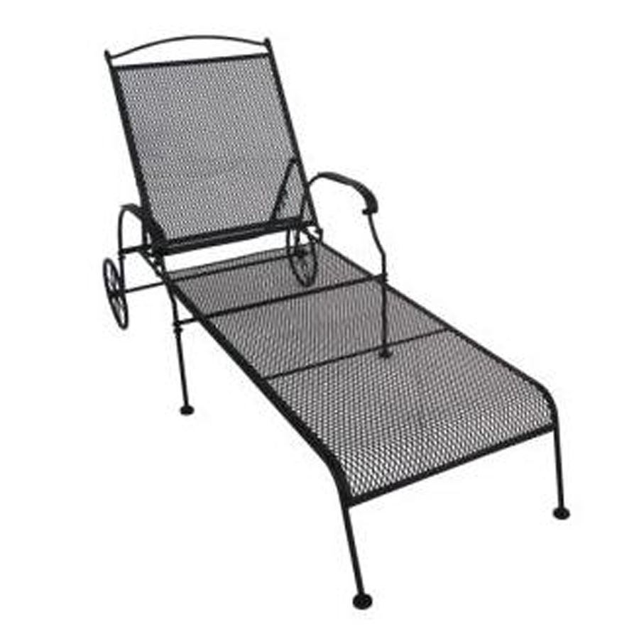 Shop Garden Treasures Hanover Mesh Seat Wrought Iron Patio Chaise Inside Well Liked Lowes Outdoor Chaise Lounges (View 12 of 15)