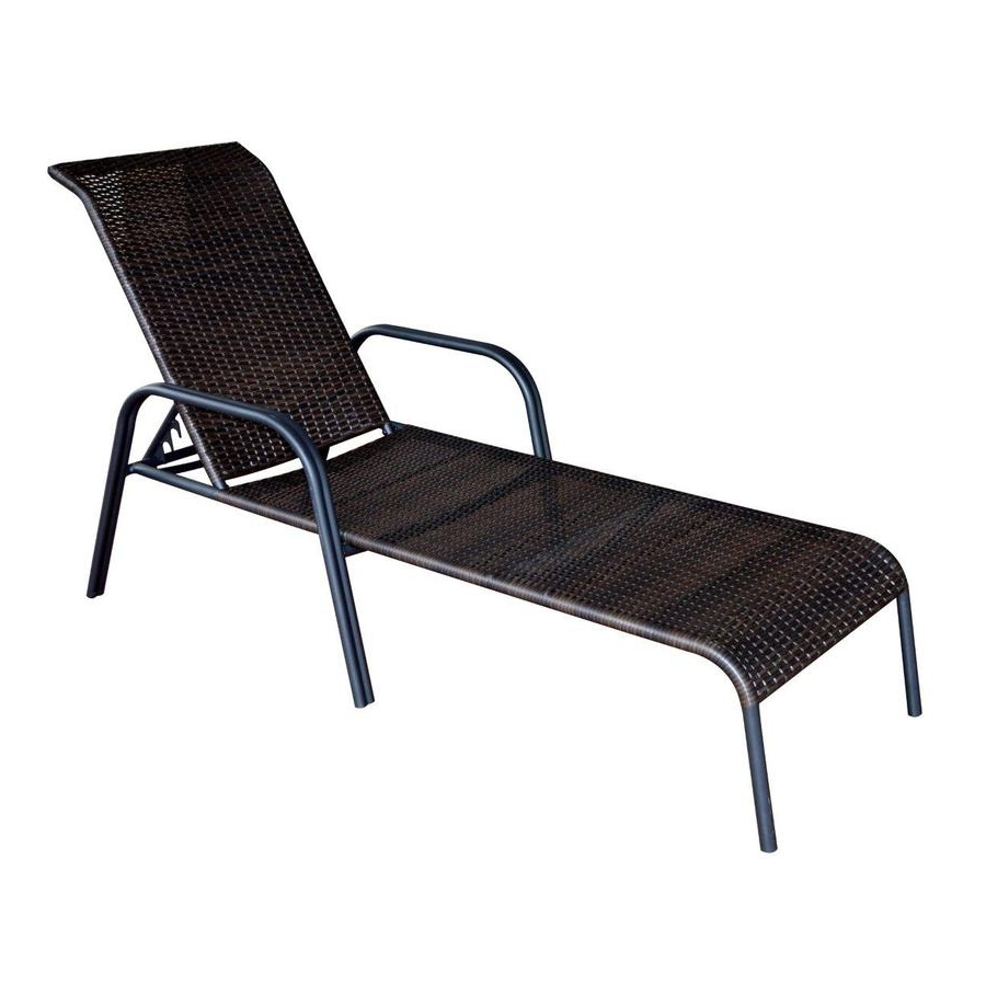 Shop Garden Treasures Pelham Bay Brown Steel Stackable Patio Within 2018 Brown Outdoor Chaise Lounge Chairs (View 13 of 15)