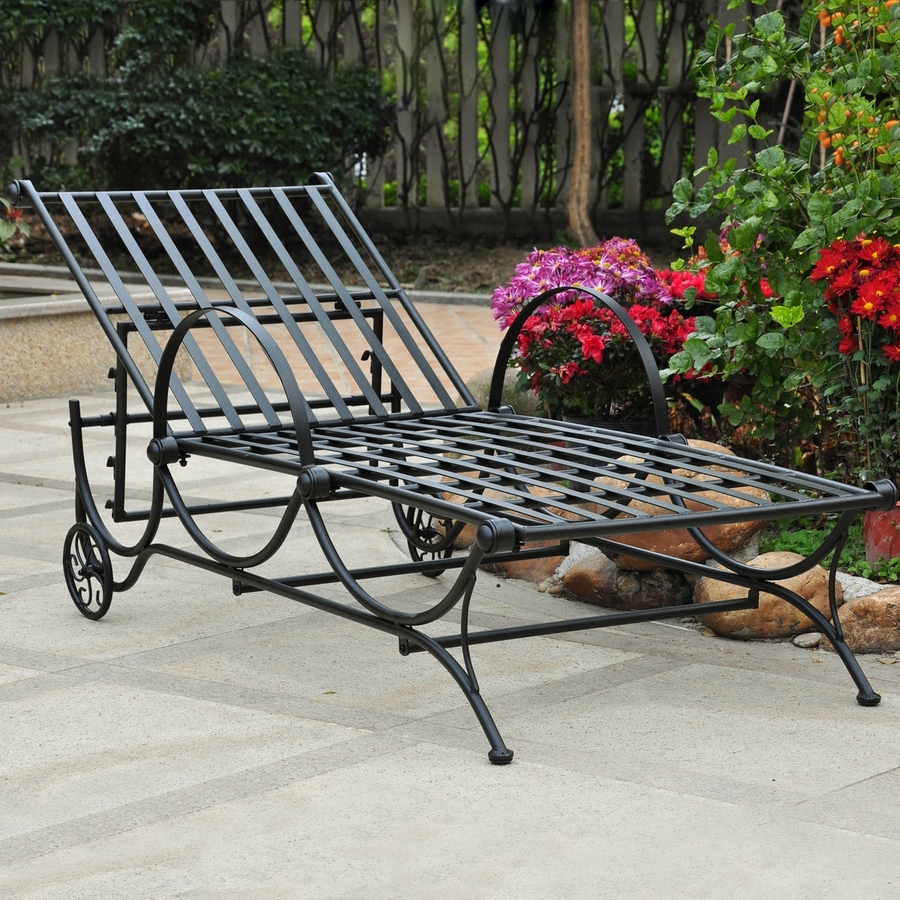 Shop International Caravan Patio Chaise Lounge Chair At Lowes Inside Well Liked Wrought Iron Outdoor Chaise Lounge Chairs (View 10 of 15)
