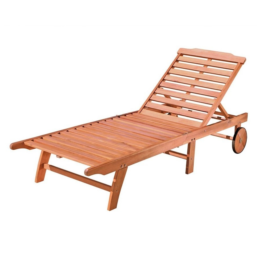 Shop Vifah Eucalyptus Patio Chaise Lounge At Lowes Throughout Well Known Wooden Chaise Lounges (View 7 of 15)