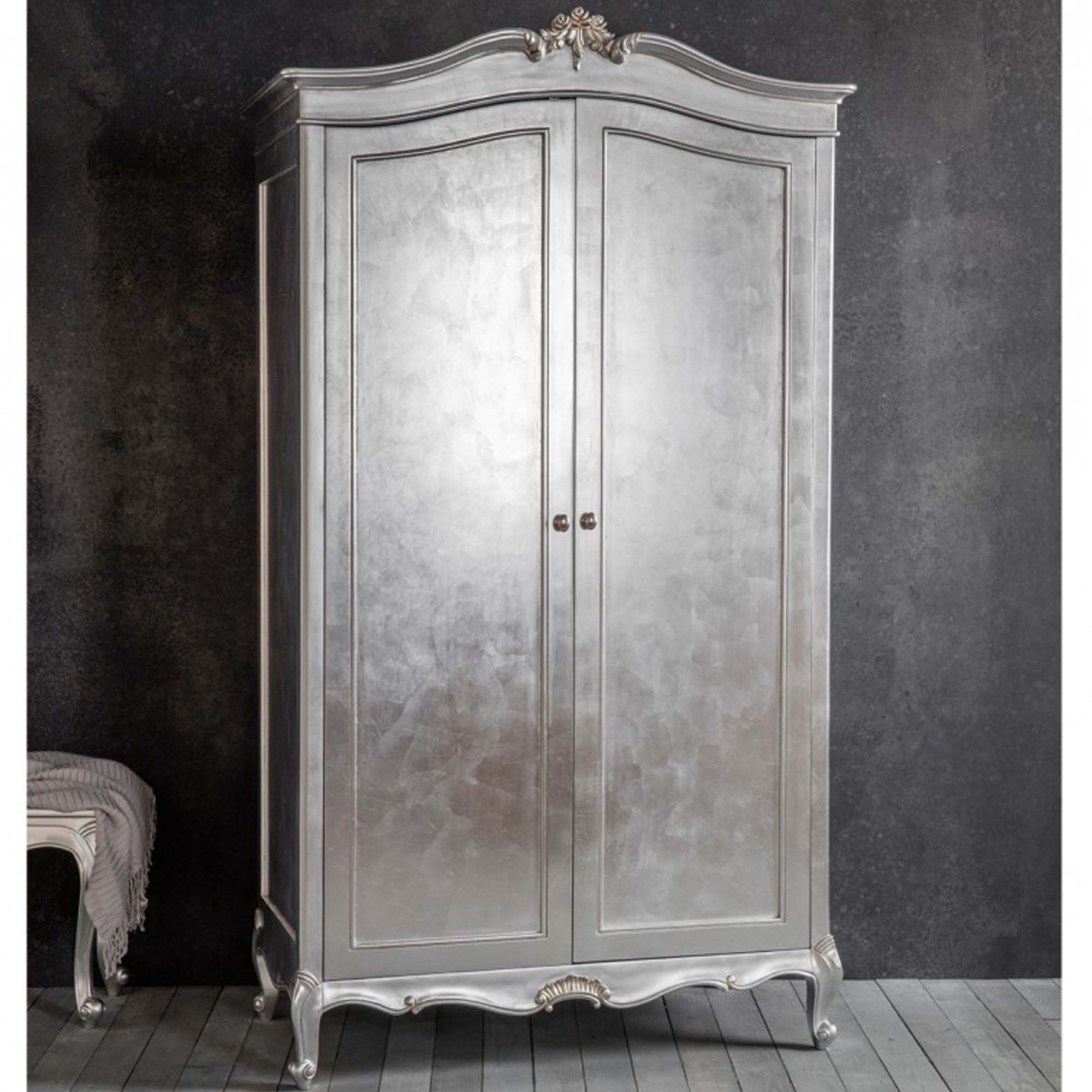 Silver Wardrobes With Regard To Well Liked Chic Silver 2 Door Shabby Chic Wardrobe (View 11 of 15)