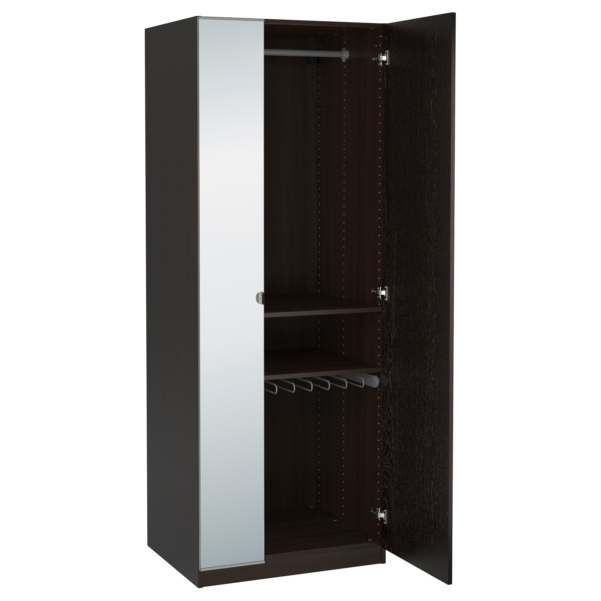 Single Door Wardrobe With Drawers White Ikea Wooden Black Elegant With Regard To Most Recent Black Single Door Wardrobes (View 14 of 15)