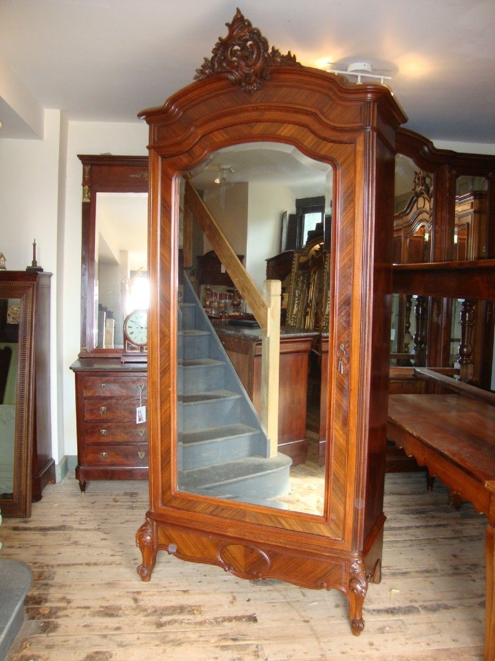 Single French Wardrobes In Current French Louis Xv Style Single Door Rosewood Armoire (View 12 of 15)