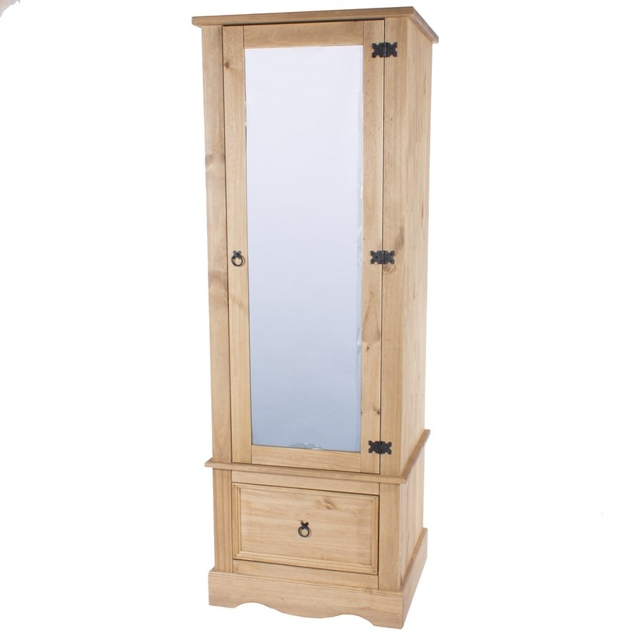 Single Wardrobes With Mirror Inside Famous Abdabs Furniture – Corona Pine Single Wardrobe With Mirrored Door (View 8 of 15)
