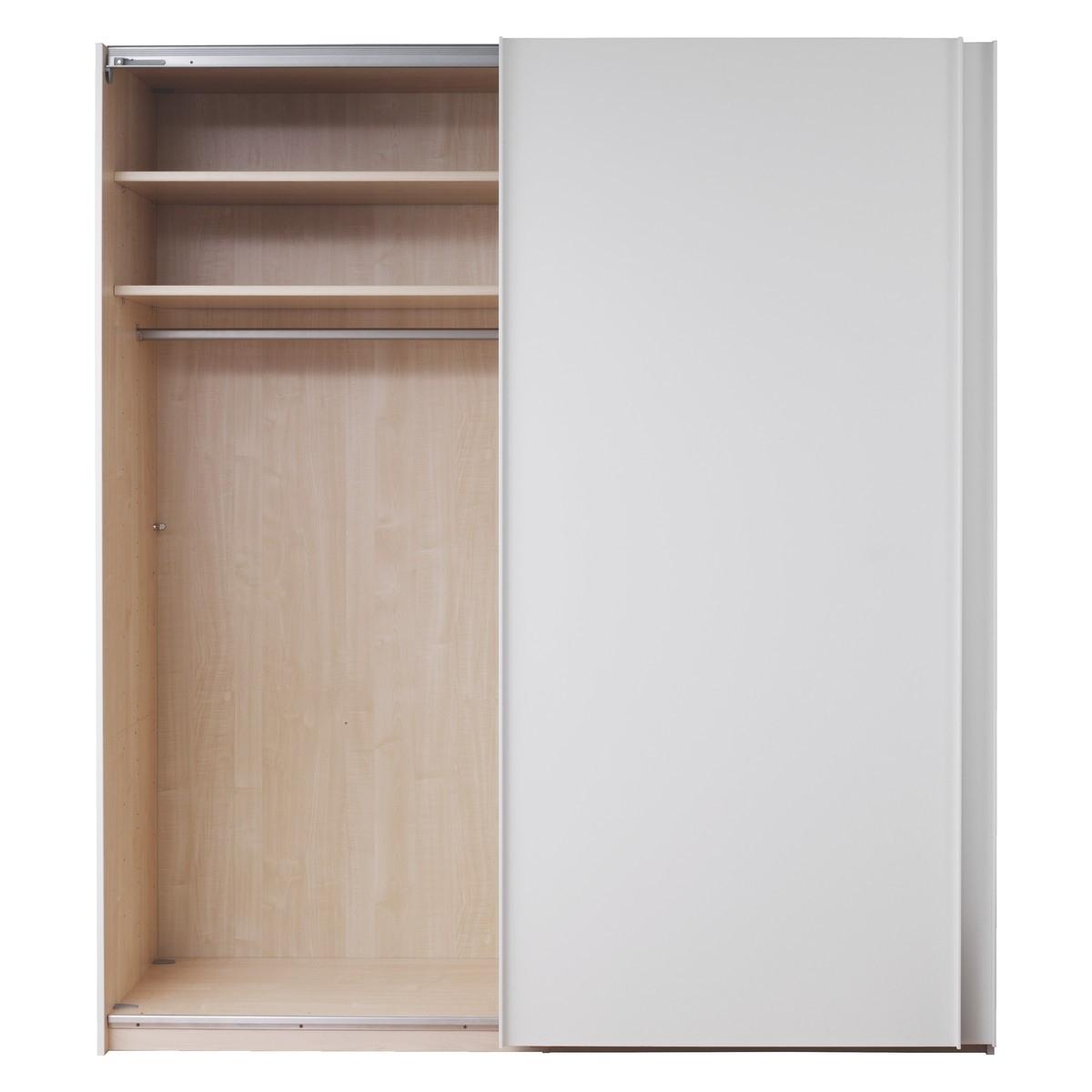 Single White Wardrobes Regarding Preferred Kripton Matt White 2 Door Sliding Wardrobe W160 X H223Cm (View 11 of 15)