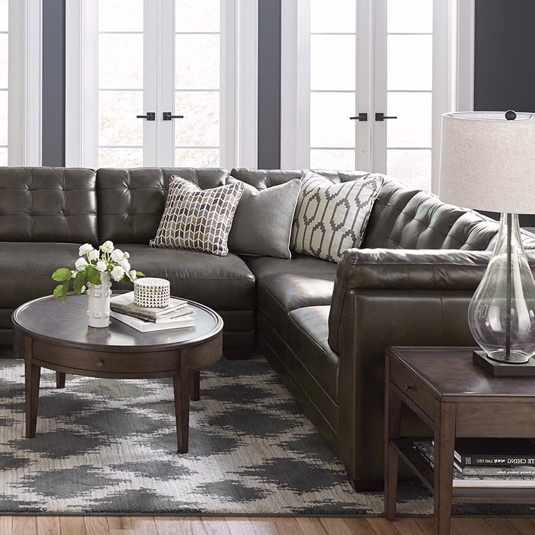 Slate Grey Leather U Shaped Sectional Intended For Fashionable Gray U Shaped Sectionals (View 7 of 10)
