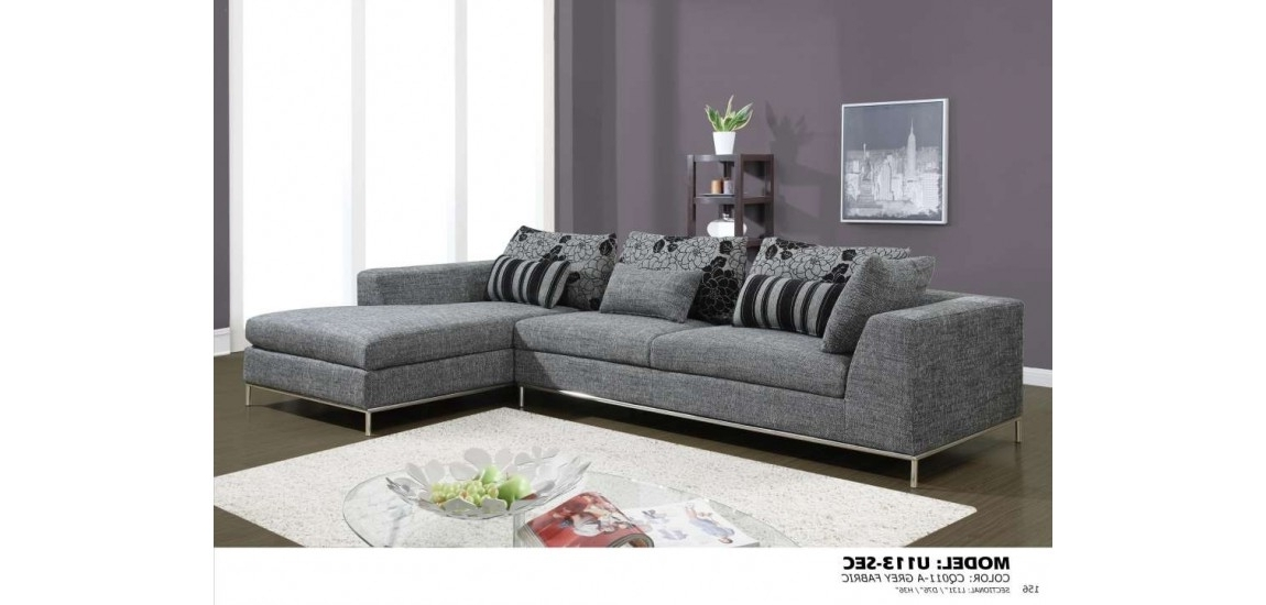Sleek Sectional Sofas Inside Well Known U133 Grey Chenille Fabric Modern Sectional Sofa (View 8 of 10)