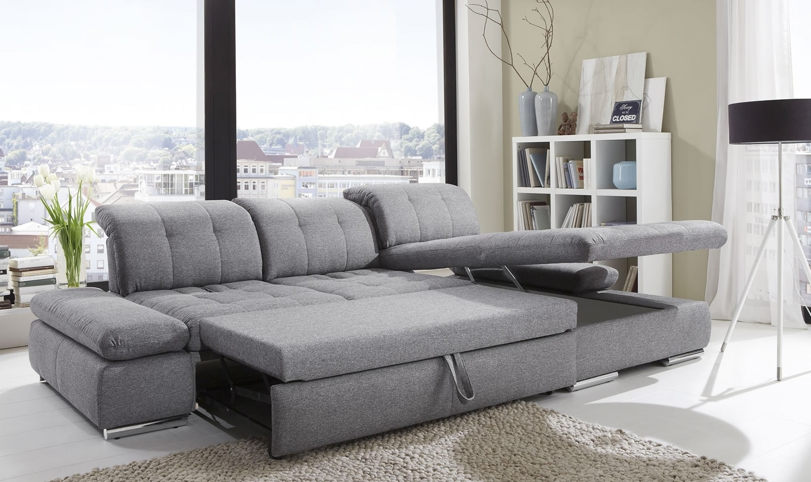 Sleeper Chaises With Regard To Popular Alpine Sectional Sleeper Sofa, Left Arm Chaise Facing, Black (View 10 of 15)