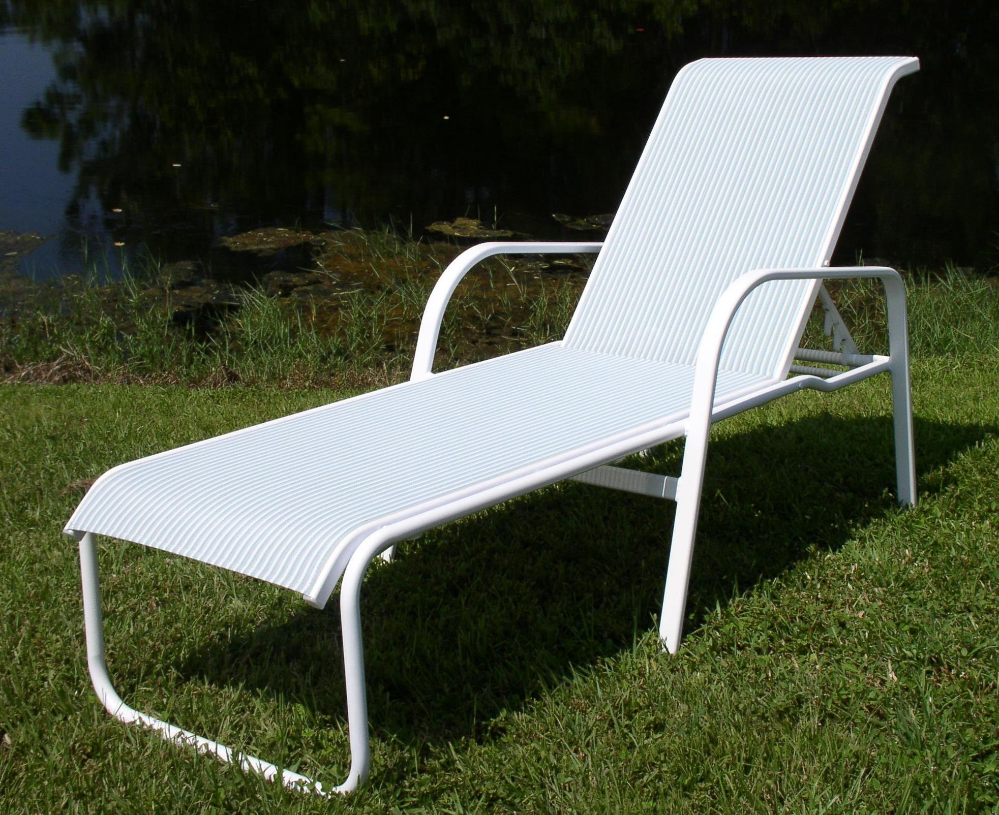 Sling Chaise Lounge Chair Attractive Pool Chairs 15 In Seat Ocean Throughout Popular Outdoor Mesh Chaise Lounge Chairs (View 14 of 15)