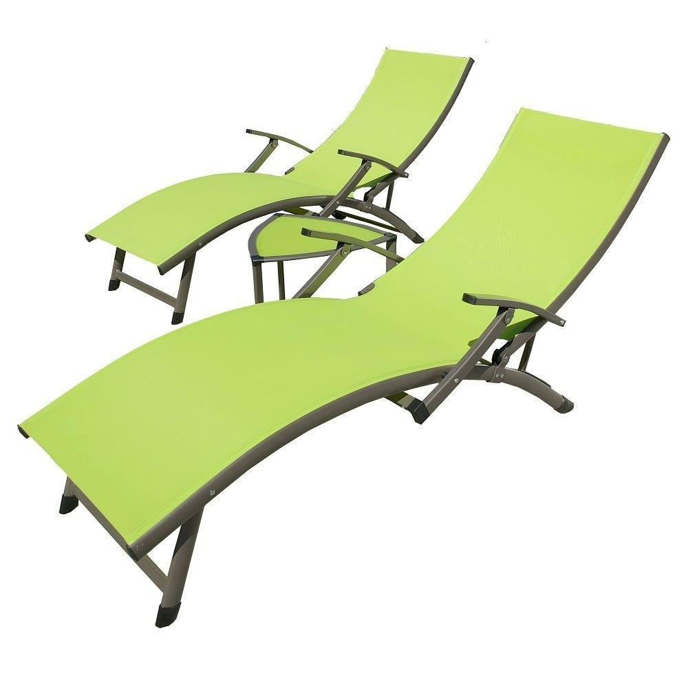 Sling Chaise Lounges With Regard To Most Recently Released Rst Brands Sol Sling 3 Piece Green Patio Chaise Lounge Set Op (View 11 of 15)