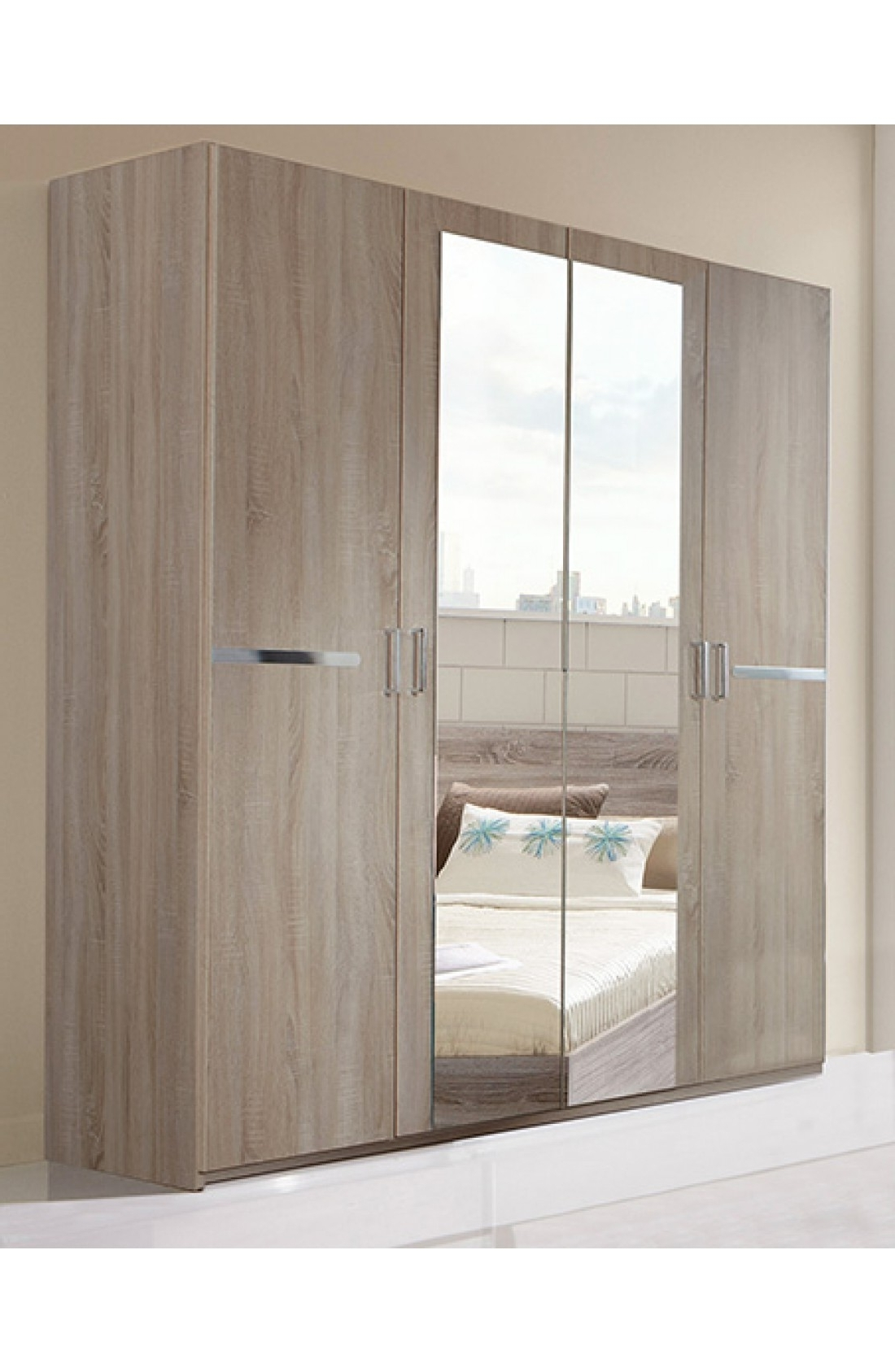 Slumberhaus 'anna' Modern Light Oak 180Cm 4 Door Wardrobe With Latest Cheap 4 Door Wardrobes (View 12 of 15)