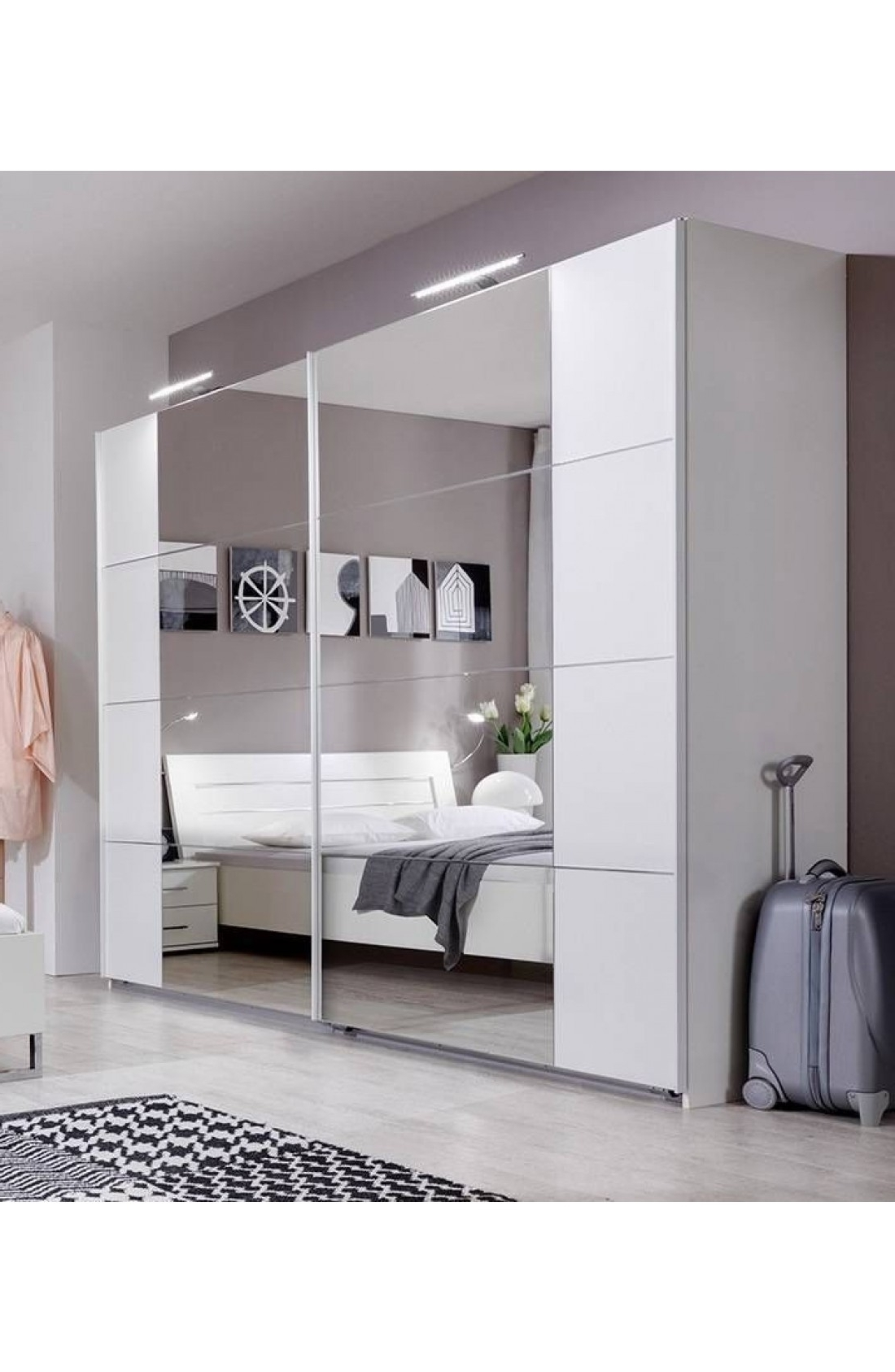 Slumberhaus 'davos' German Made Modern White & Mirror Sliding Door In Most Recently Released White Mirrored Wardrobes (View 6 of 15)