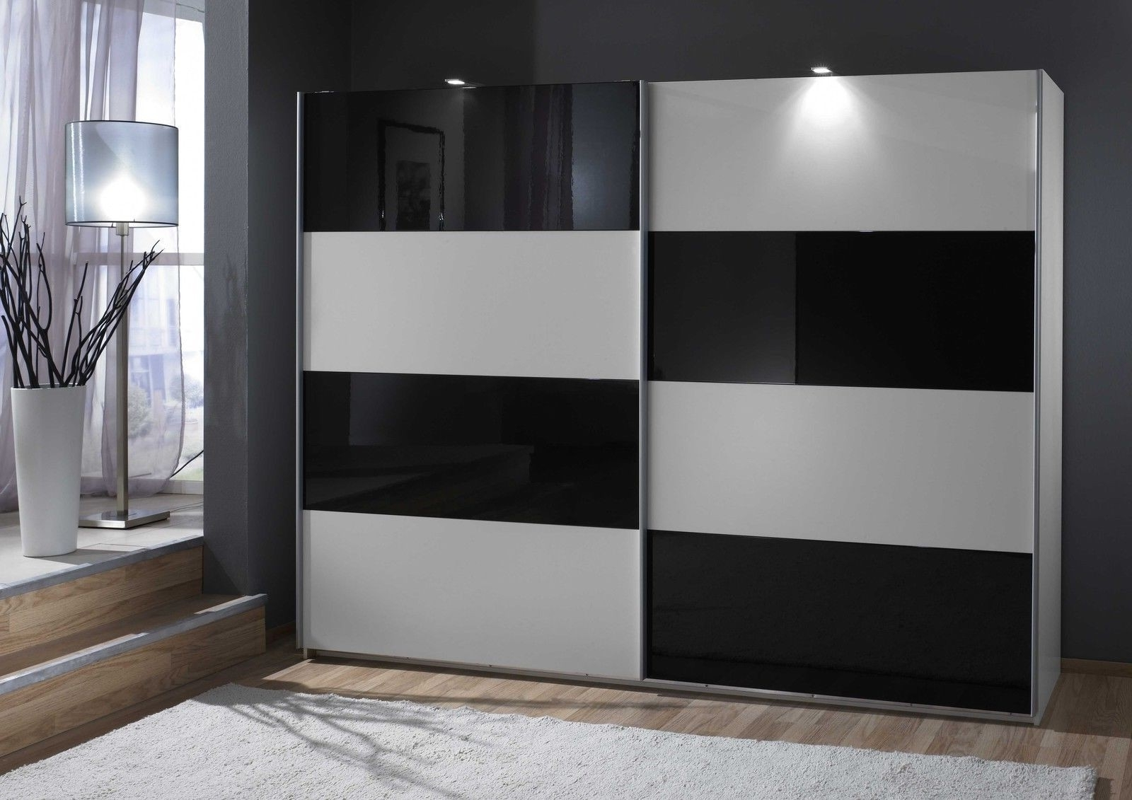 Slumberhaus 'eleganz' German Made Modern White & Black Glass For Well Liked Black Sliding Wardrobes (View 7 of 15)