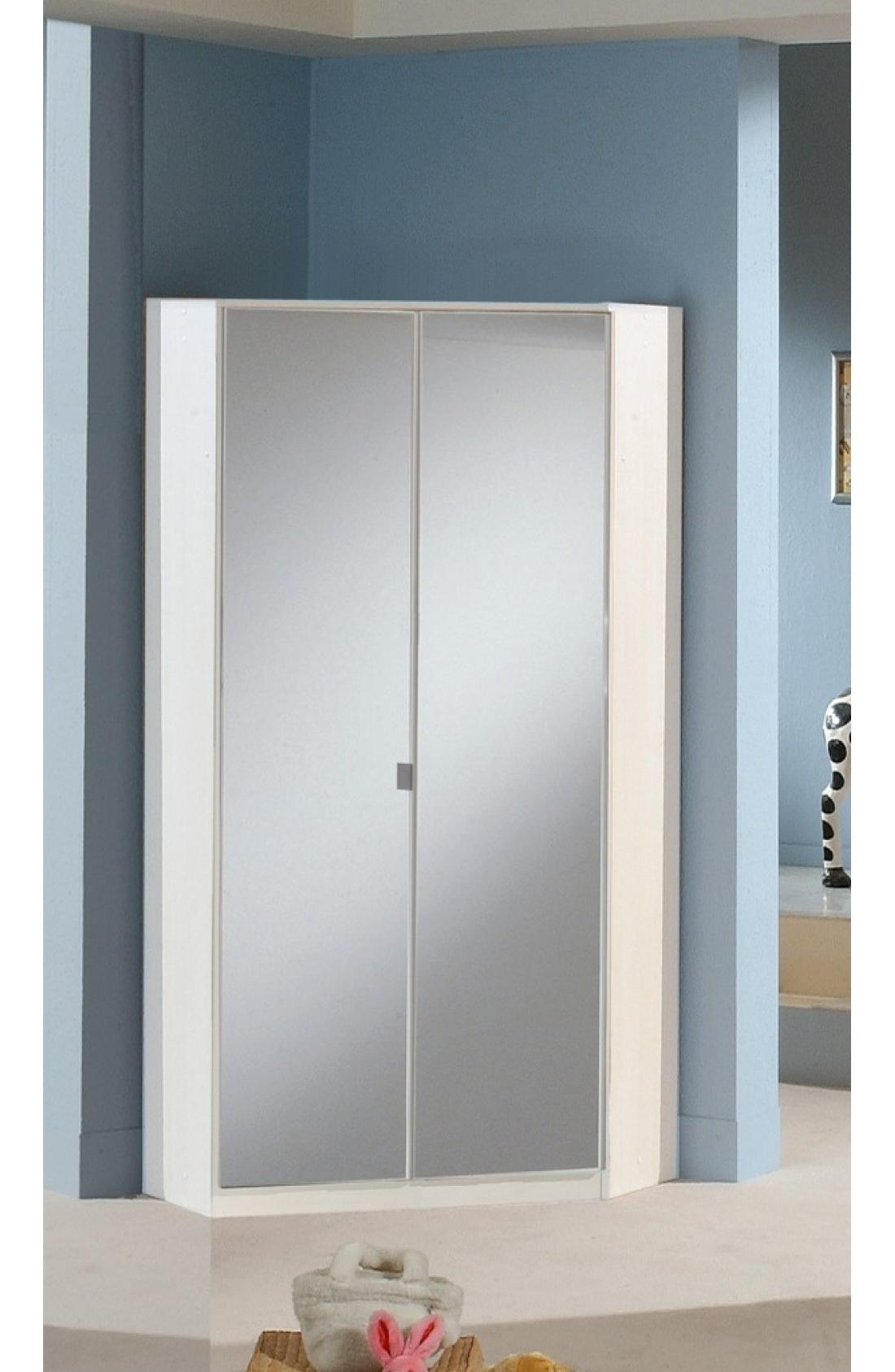 Slumberhaus Gamma German Made Modern White And Mirror 2 Door For Widely Used Corner Mirror Wardrobes (View 2 of 15)