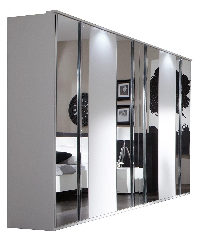 Slumberhaus German Modern Davos White Chrome Mirror 4 Door(180cm With Regard To Best And Newest 4 Door Mirrored Wardrobes (View 10 of 15)