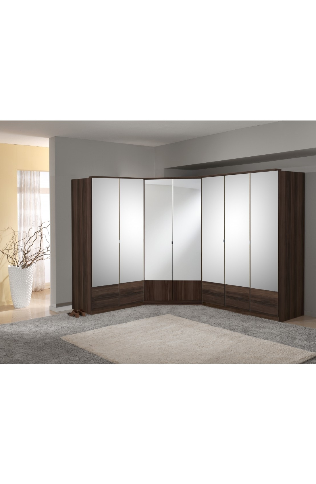 Slumberhaus 'imago' 7 Door Corner Wardrobe Fitment With Walnut And Within Best And Newest Corner Mirror Wardrobes (View 13 of 15)