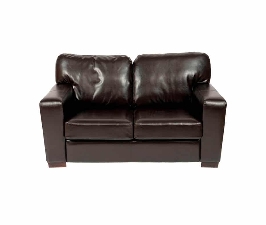 Small 2 Seater Sofas Throughout Newest Small 2 Seater Sofa With Chunky Square Arms Made From Faux Leather (View 8 of 10)