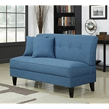 Small Armless Sofas Pertaining To Most Recent Amazon: Portfolio Engle Caribbean Blue Linen Armless Loveseat (View 6 of 10)