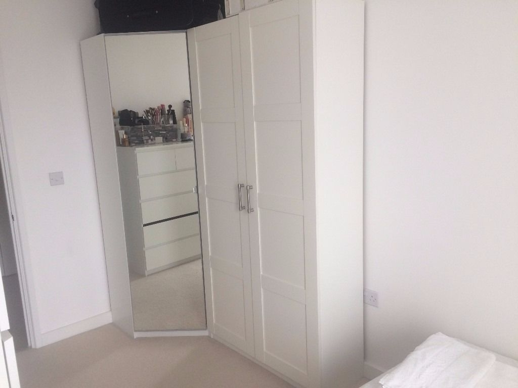 Small Corner Wardrobes Within Most Recent Ikea Pax Corner Wardrobe + Small Double Bed + Malm Chest Of (View 10 of 15)