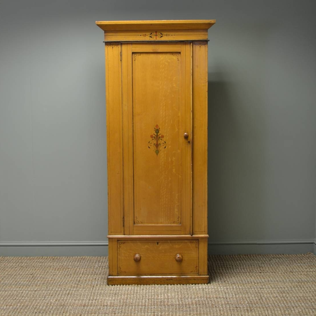 Small Victorian Antique Pine Wardrobe With The Original Paint Throughout Latest Victorian Pine Wardrobes (View 8 of 15)
