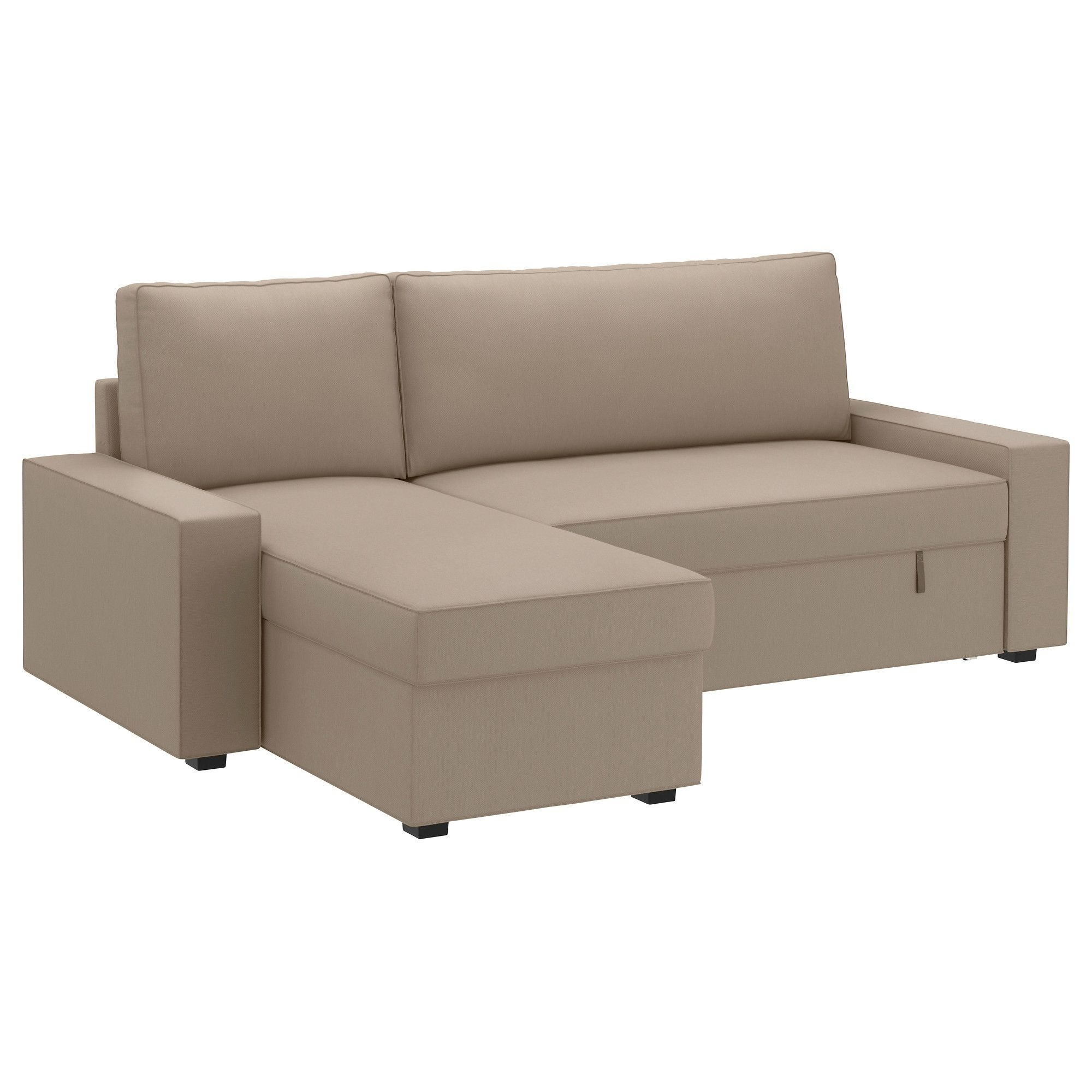 Sofa Beds With Chaise In Popular Vilasund Covered Sofa Bed With Chaise – Dansbo Beige – Ikea (View 4 of 15)