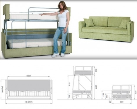 Sofa Bunk Beds Within Newest Space Saving Sleepers: Sofas Convert To Bunk Beds In Seconds (View 8 of 10)