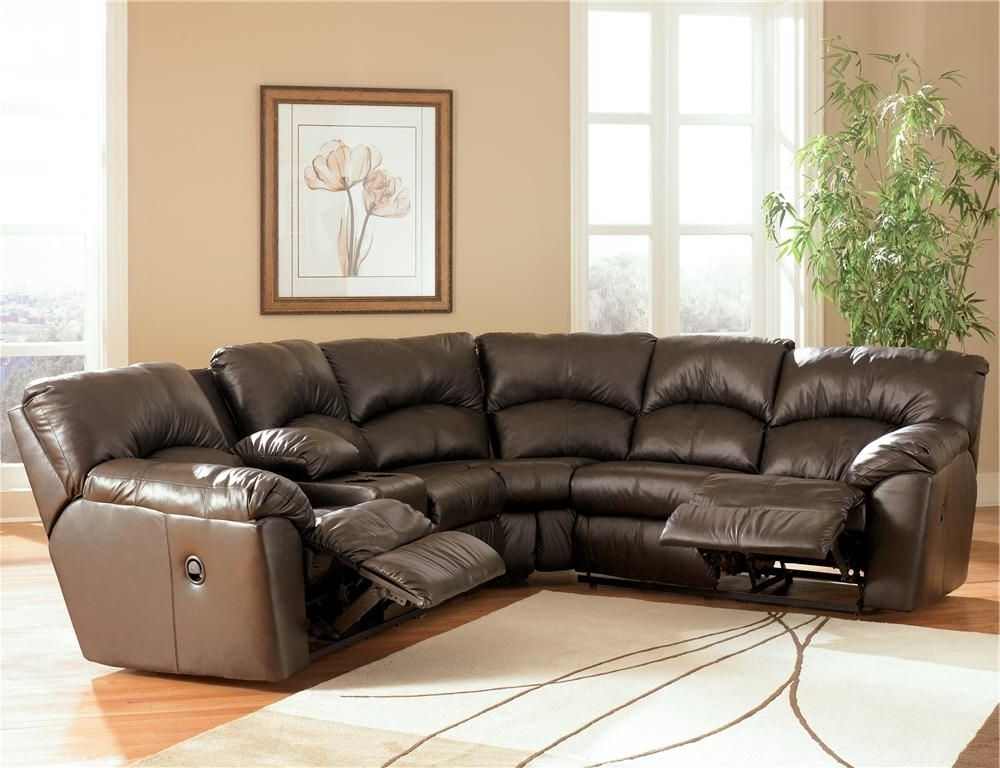 Sofas With Consoles With Regard To Best And Newest Kellum – Chocolate Reclining Leather Sectional With Console (View 10 of 10)