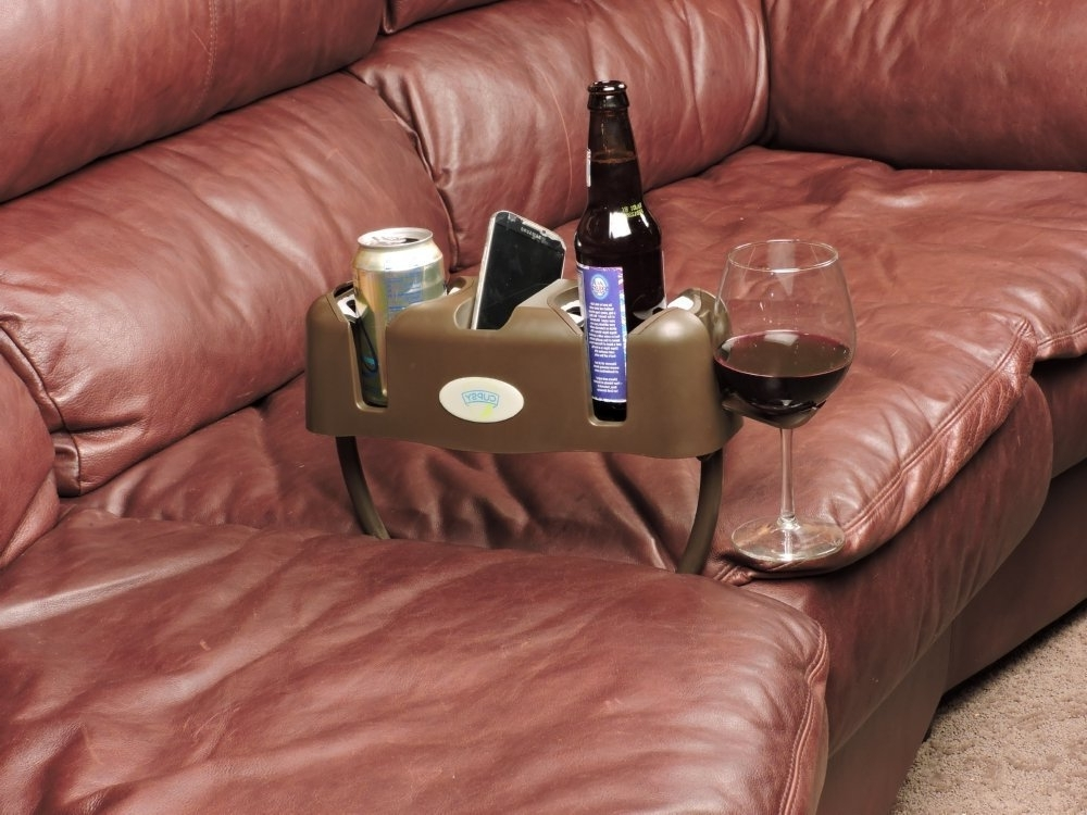 Sofas With Drink Tables Intended For Newest Amazon: Cupsy Sofa And Couch Armchair Drink Organizer And (View 4 of 10)