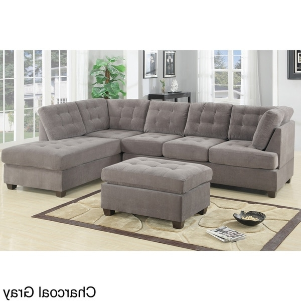 Sofas With Ottoman In Popular Incredible Sectional Sofa With Ottoman Odessa Waffle Suede (View 7 of 10)