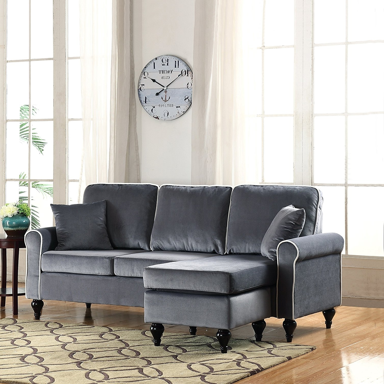 Sofas With Reversible Chaise Throughout Most Popular Amazon: Classic And Traditional Small Space Velvet Sectional (View 8 of 15)