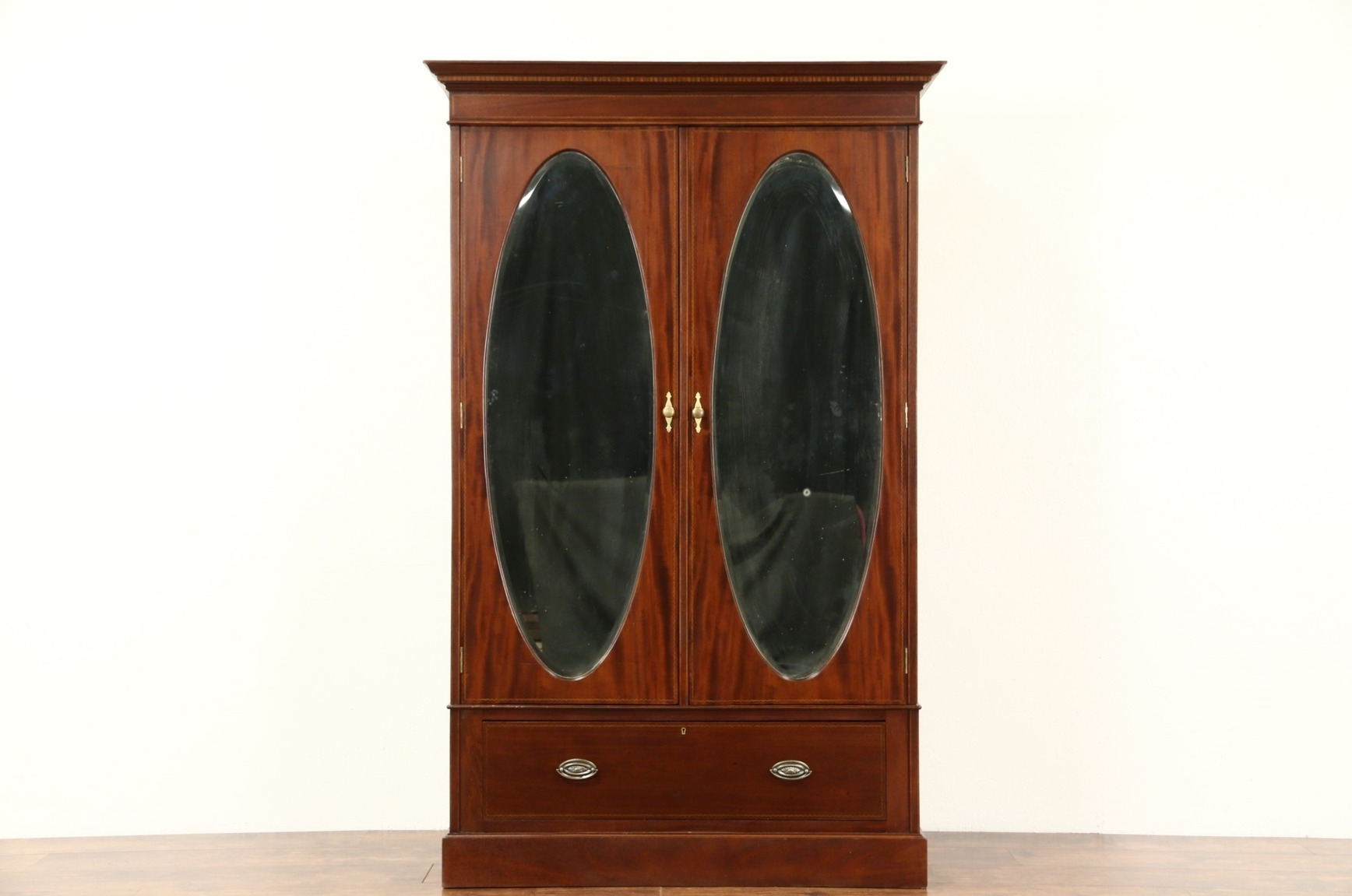 Sold – English 1910 Antique Armoire Or Wardrobe Closet, Oval Inside Recent Armoire French Wardrobes (View 14 of 15)