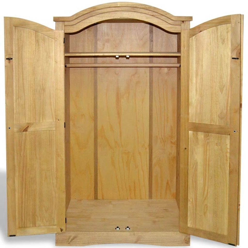 Solid Wood Wardrobe With 2 Doors 1 Shelf Bedroom Furniture For Widely Used Cheap Solid Wood Wardrobes (View 9 of 15)