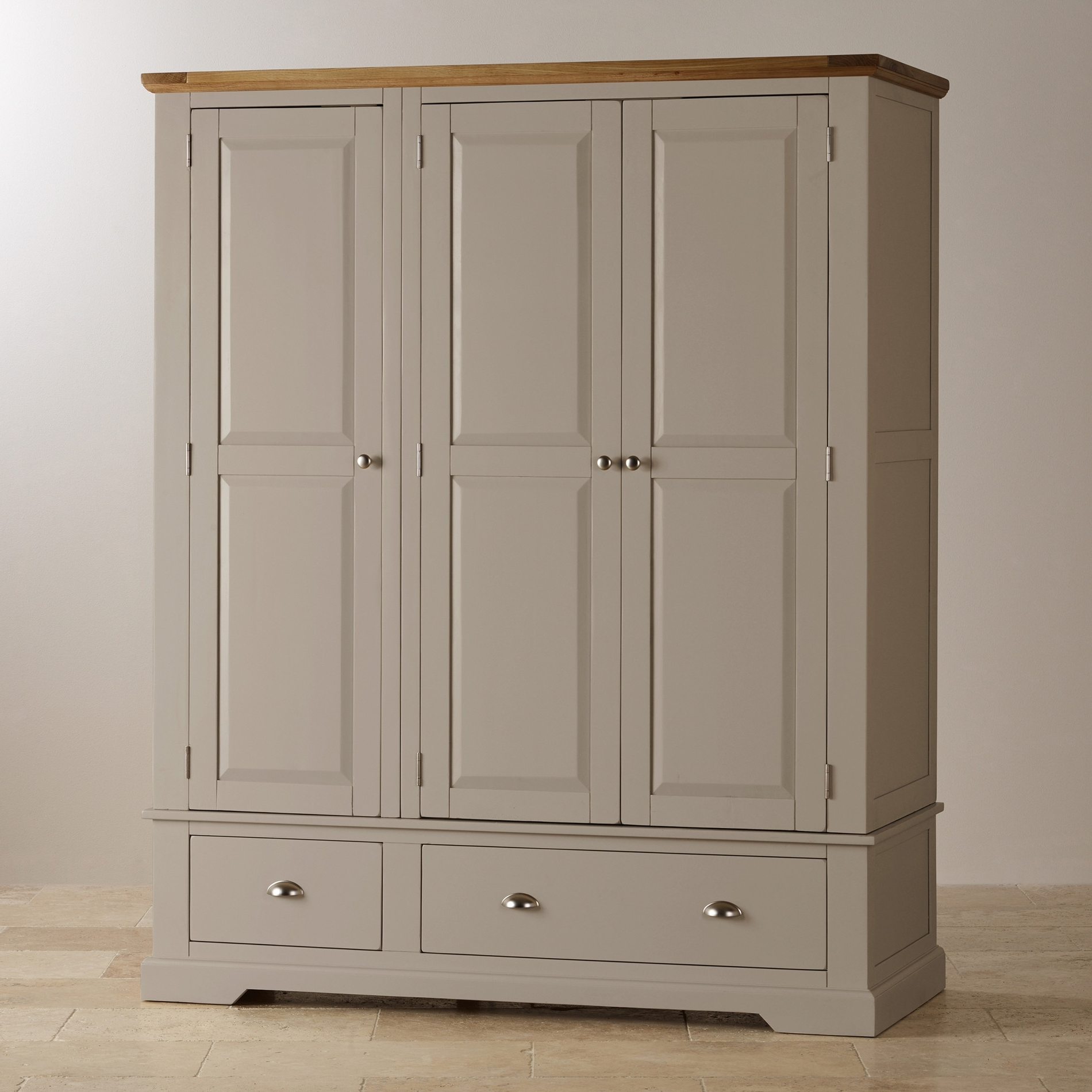 St Ives Grey Painted Triple Wardrobe In Natural Oak In Most Popular Painted Triple Wardrobes (View 14 of 15)