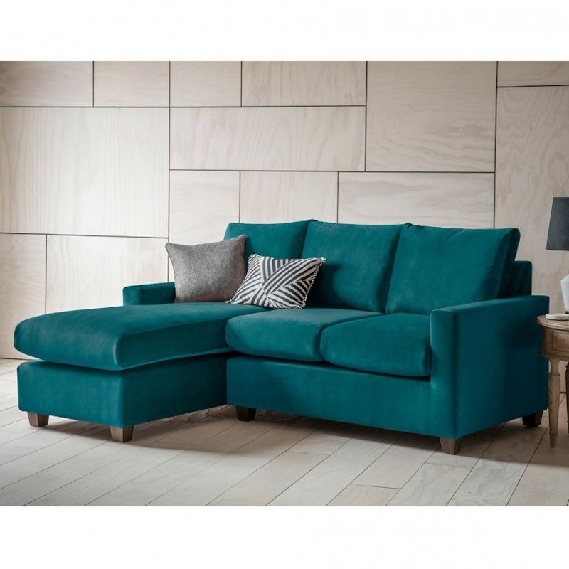 Stratford Lh Velvet Chaise Sofa In Brussels Petrol Blue In Widely Used Stratford Sofas (View 6 of 10)