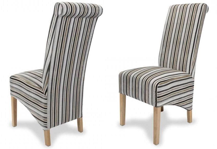 Striped Sofas And Chairs Intended For 2017 Shankar – Krista Jupiter Dining Chairs – Natural Oak Legs – Stripe (View 3 of 10)
