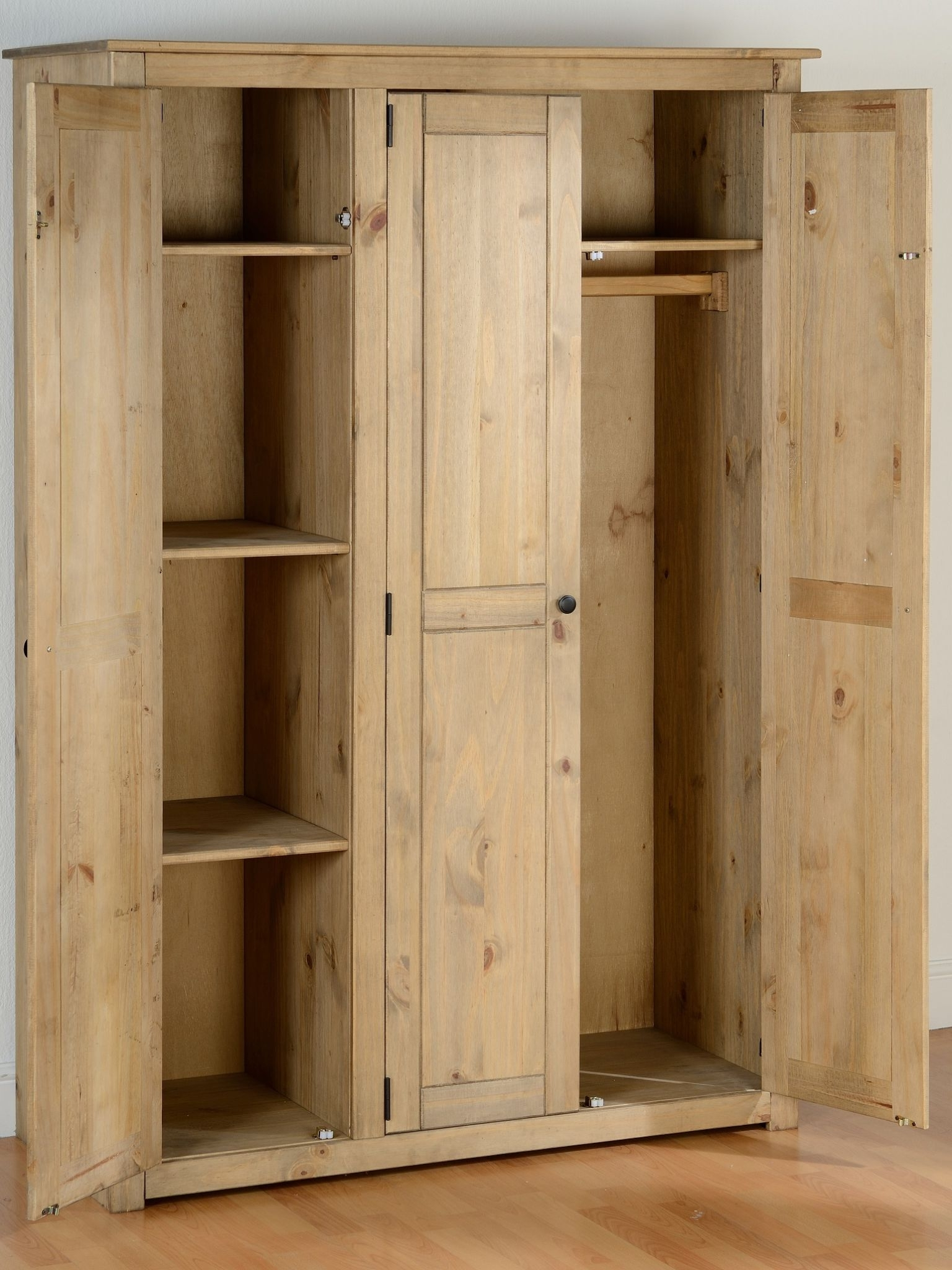 Style 3 Door Distressed Pine Wardrobe With Hanging And 3 Shelves For Preferred 3 Door Pine Wardrobes (View 14 of 15)