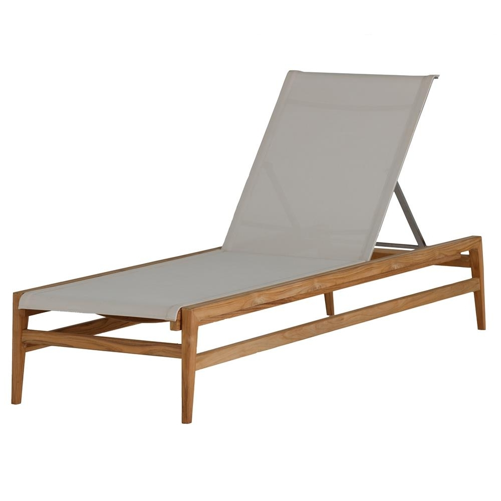 Summer Classics Coast Teak Sling Canvas Outdoor Chaise Lounge Regarding Latest Teak Chaise Lounges (View 10 of 15)
