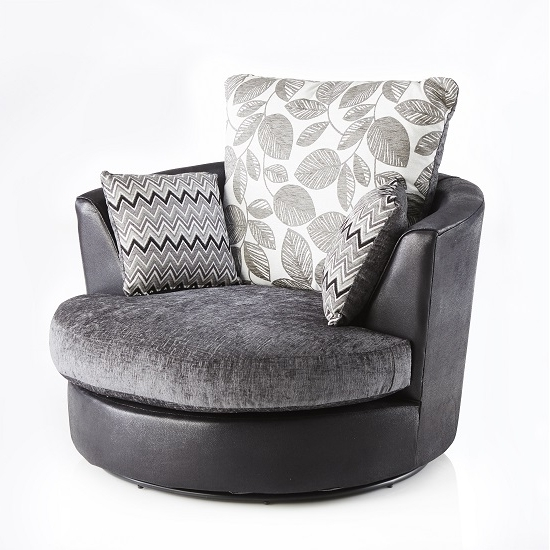 Swivel Sofa Chairs In Preferred Revive Swivel Sofa Chair In Black Pu And Grey Fabric (View 7 of 10)