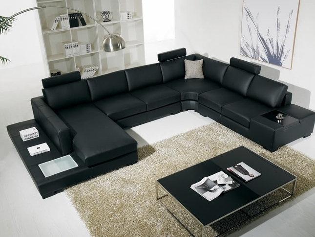 T 35 Large U Shaped Modern Leather Sectional Sofa With Lights With Well Known U Shaped Leather Sectional Sofas (View 2 of 10)