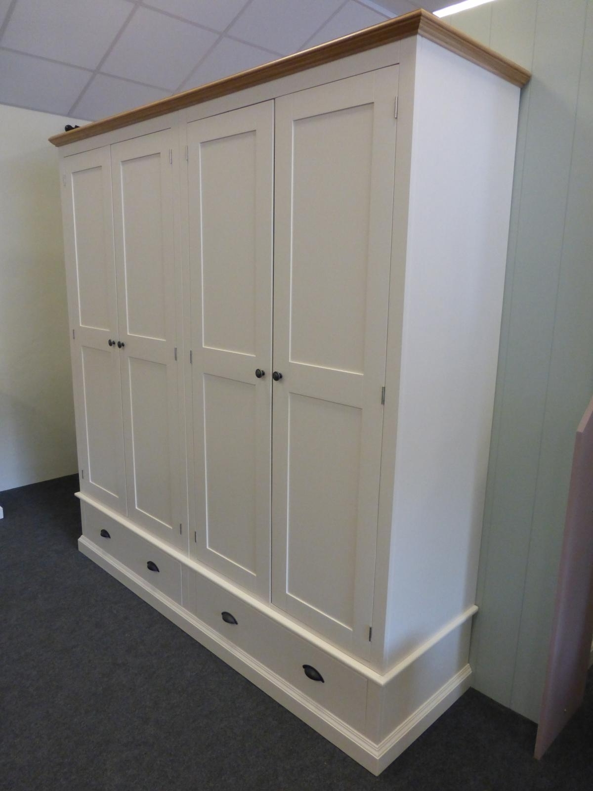 Tall Wardrobes Intended For Preferred Painted Tall Quad Wardrobe – Painted – Wardrobes – Pine Shop Bury (View 10 of 15)