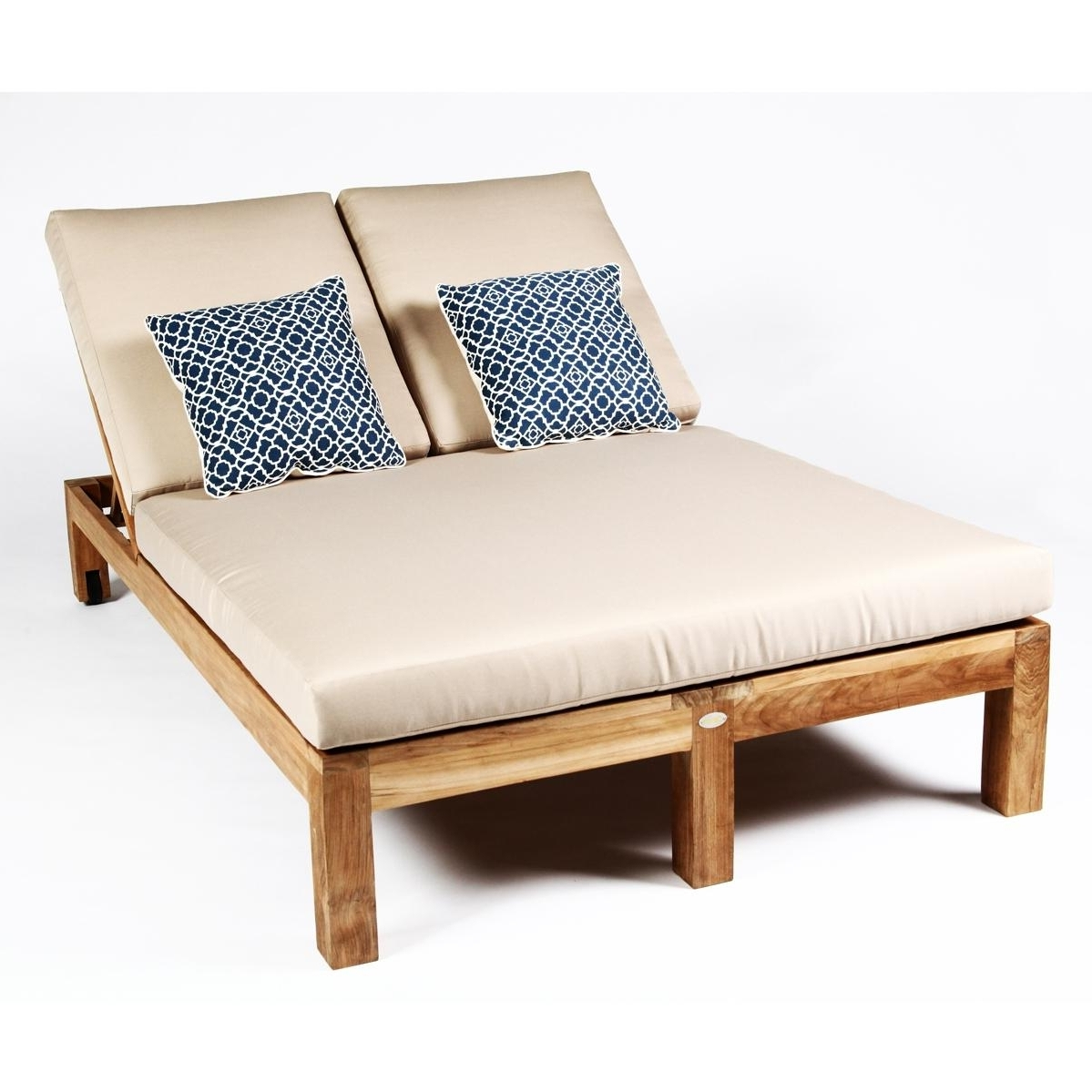 Teak Wood Double Chaise Lounge Chair • Lounge Chairs Ideas Pertaining To Most Recent Double Chaise Lounge Chairs (View 10 of 15)